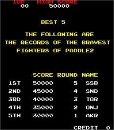 High Score Screen for Paddle 2.