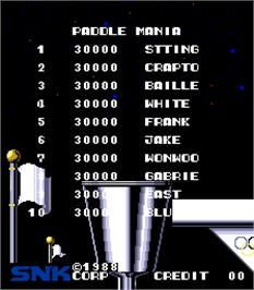 High Score Screen for Paddle Mania.