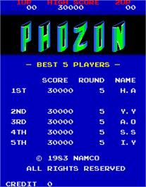 High Score Screen for Phozon.