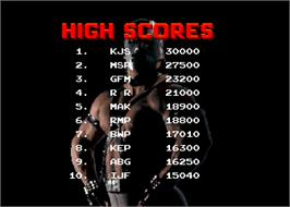 High Score Screen for Pit Fighter.