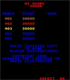 High Score Screen for Porky.