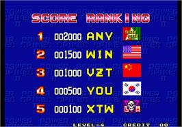 High Score Screen for Power Spikes II.