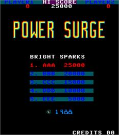 High Score Screen for Power Surge.
