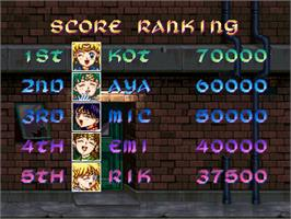 High Score Screen for Pretty Soldier Sailor Moon.