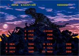 High Score Screen for Primal Rage.