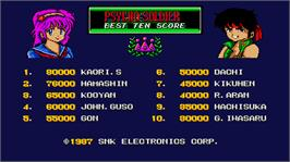 High Score Screen for Psycho Soldier.