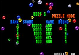 High Score Screen for Puzzle Bobble 2 / Bust-A-Move Again.