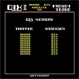 High Score Screen for Qix II.