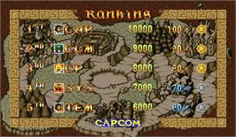 High Score Screen for Quiz & Dragons: Capcom Quiz Game.