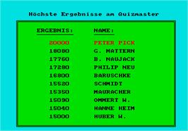 High Score Screen for Quizmaster.