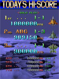 High Score Screen for Raiden Fighters 2.1.
