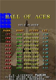 High Score Screen for Raiden II.