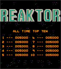 High Score Screen for Reaktor.