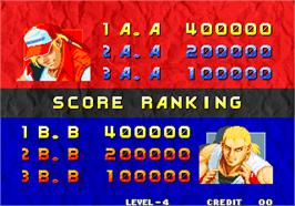High Score Screen for Real Bout Fatal Fury / Real Bout Garou Densetsu.