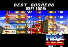High Score Screen for Real Bout Fatal Fury 2 - The Newcomers.