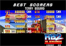 High Score Screen for Real Bout Fatal Fury 2 - The Newcomers / Real Bout Garou Densetsu 2 - the newcomers.
