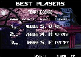 High Score Screen for Real Bout Fatal Fury Special / Real Bout Garou Densetsu Special.
