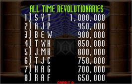 High Score Screen for Revolution X.