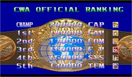 High Score Screen for Ring of Destruction: Slammasters II.