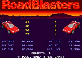 High Score Screen for Road Blasters.