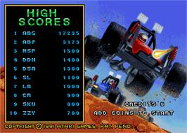 High Score Screen for Road Riot 4WD.