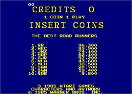 High Score Screen for Road Runner.