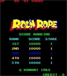 High Score Screen for Roc'n Rope.