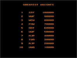 High Score Screen for Rohga Armor Force.
