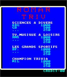 High Score Screen for Romar Triv.