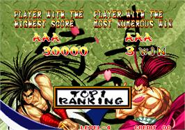 High Score Screen for Samurai Shodown II / Shin Samurai Spirits - Haohmaru jigokuhen.