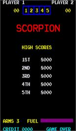 High Score Screen for Scorpion.