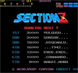 High Score Screen for Section Z.