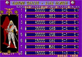 High Score Screen for Shadow Dancer.