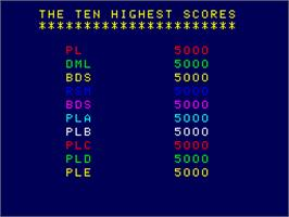 High Score Screen for Shark Attack.