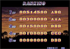 High Score Screen for Shock Troopers.