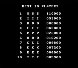 High Score Screen for Side Pocket.