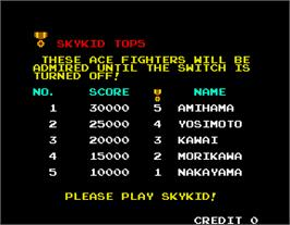 High Score Screen for Sky Kid.