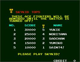High Score Screen for Sky Kid Deluxe.