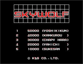 High Score Screen for Sky Wolf.