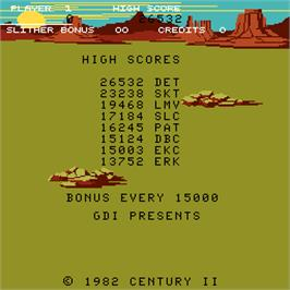 High Score Screen for Slither.