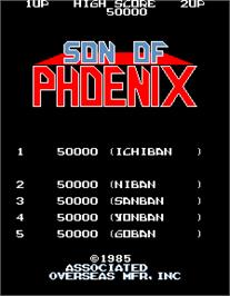 High Score Screen for Son of Phoenix.