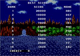 High Score Screen for Sonic The Hedgehog.