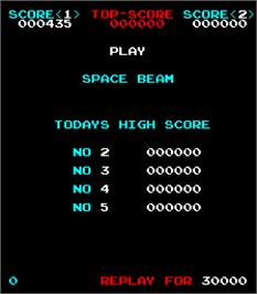 High Score Screen for Space Beam.