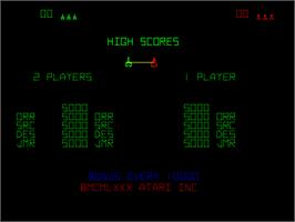 High Score Screen for Space Duel.