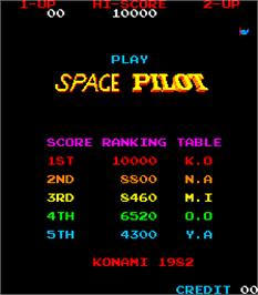 High Score Screen for Space Pilot.