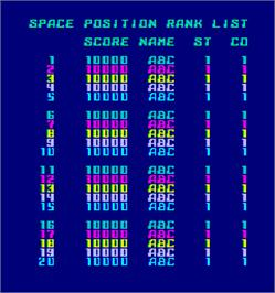 High Score Screen for Space Position.