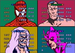 High Score Screen for Spider-Man: The Videogame.