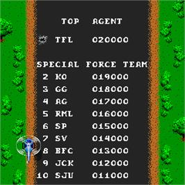 High Score Screen for Spy Hunter.