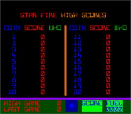 High Score Screen for Star Fire.