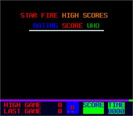 High Score Screen for Star Fire 2.